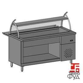 Прилавок охлаждаемый для тарелок с холодильной камерой, одной полкой и гнутым стеклом