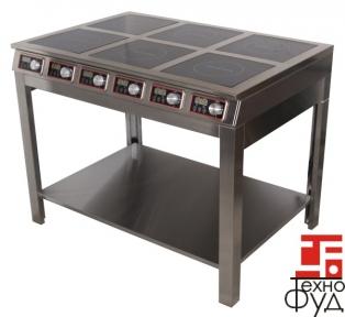 Плита індукційна плитка з полицею 6 конфорок (12 кВт) ІП 6.12